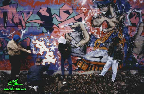 "Photo of B.Base, Werner ""Mr.W"" Skolimowski & 2 other graffiti writers at Hamburg's first Legal Graffiti Hall Of Fame in 1988. First Legal ""Graffiti Hall Of Fame"" in Hamburg"